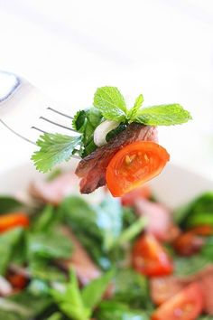 Thai Beef Salad is a tasty salad with beef and greens in a savory dressing. Easy Thai beef salad recipe that everyone can make at home. Vietnamese Noodle Salad, Thai Beef Salad, Thai Salads, Meat Salad, Asian Salads, Thai Salad Dressings, Rice Noodle Recipes, Easy Asian Recipes, Healthy Salad Recipes