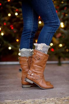 Mid-calf boots paired with knit boot cuffs
