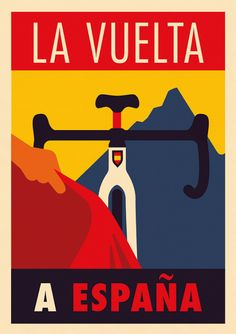 A Fine Art High Definition Vintage La Vuelta Espana, Spanish Bicycle Racing Advertising Poster Print. Poster Retro, Illustrations Vintage, Bike Poster, Poster City, Bike Illustration, Design Poster, Graphic Design, Vintage Cycles, Bicycle Race
