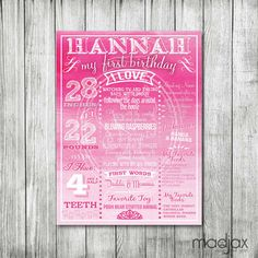 Princess Pink Ombre Birthday Board // by MadJax Design and Print