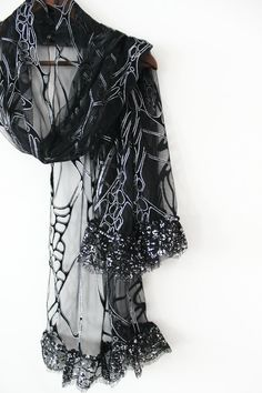 Black and silver tulle shawl Black handmade by Nazcolleccolors