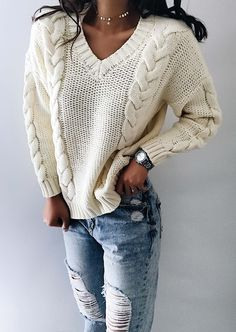 $33.99! Chicnico Casual Knit V Neck Solid Color Loose Sweater Get ready for Fall fashion! Find fashionable outfits for the new season.