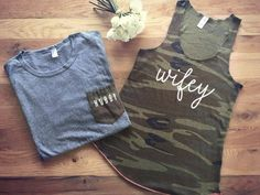 HUBBY & WIFEY© matching t shirt and tank top - just married, bridal, bride, groom, honeymoon, wedding, bridal party, camo, husband, wife by LeoJudeCo on Etsy https://www.etsy.com/listing/467637744/hubby-wifey-matching-t-shirt-and-tank