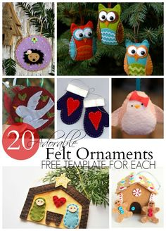 20 Adorable felt ornaments--ALL WITH FREE TEMPLATES!