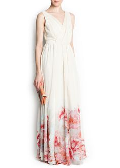 Floral printed hems gown