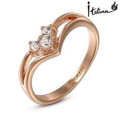 Real Italina Rigant Austrian Crystal 18KRGP gold Plated Rings for Women Zirconia Fashion healthy Anti Allergies #RG90636