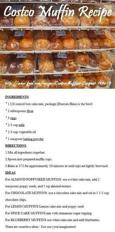 Costco Muffin Recipe - These are not bad, but nothing like Costco muffins. I used Betty Crocker French Vanilla cake mix as my base for the Almond Poppyseed muffins. I also only cooked them at 350 for 14 min. Köstliche Desserts, Delicious Desserts, Dessert Recipes, Yummy Food, Tasty, Recipes Dinner, Snacks Recipes, Meal Recipes, Plated Desserts