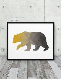 Mustard & Grey Bear Print. Triangle Geometric Print. by lanakat