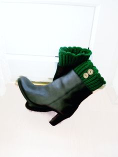 Green boot cuffs with  wood button detail by NurayAytac on Etsy