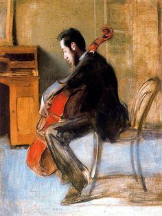 Retrato del violonchelista Gálvez. Óleo sobre lienzo. 85 x 68 cm. Colección particular. Obra de Ramón Casas