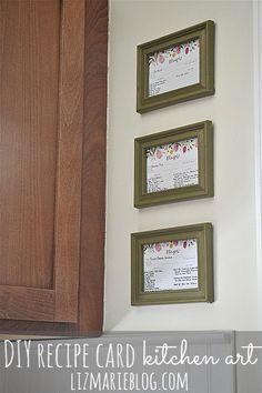 DIY framed recipe card art @lizmarieblog.com - create meaningful & useful art for your kitchen.