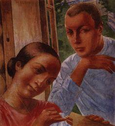 Весна в деревне1. 1929. Петров-Водкин Кузьма Сергеевич (1878-1939). Описание картины, скачать репродукцию.