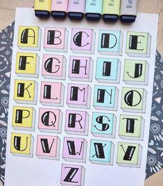 Bullet Journal Paper, Bullet Journal Lettering Ideas, Journal Fonts, Bullet Journal Notebook, Bullet Journal School, Bullet Journal Ideas Pages, Bullet Journal Inspiration, Hand Lettering Tutorial, Hand Lettering Alphabet
