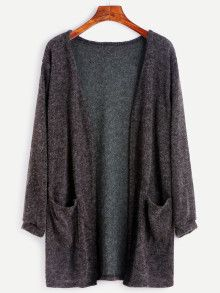 Shop Black Fuzzy Cardigan With Pockets online. SheIn offers Black Fuzzy Cardigan With Pockets & more to fit your fashionable needs. Cardigan Gris, Burgundy Cardigan, Cocoon Cardigan, Sweater Cardigan, Burgundy Top, Loose Sweater, Long Cardigan, Short Sleeve Cardigan, Long Sleeve Tops