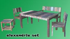 Alexandria set living recycled boat wood