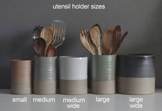 One utensil holder or vase in your choice of clay and glaze color. Modern handma… One utensil holder or vase in your choice of clay and glaze color. Modern handmade pottery utensil h Ceramic Utensil Holder, Kitchen Utensil Holder, Kitchen Utensils, Pottery Vase, Ceramic Pottery, Ceramic Art, Wheel Thrown Pottery, Cylinder Shape, Pottery Techniques