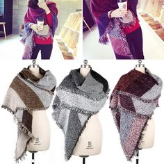 Winter Women's Thick Warm Wool Pashmina Cashmere Stole Scarves Scarf Shawl Wraps #Affiliate