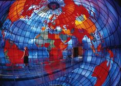 Located in the Christian Science Center in Boston, Massachusetts, USA, The Mapparium is the world's only walk-through globe. The spherical stained glass room depicts a map of the world with political borders from 1935.