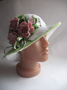 Hat Brim  in White with  Three Large Rose OOAK by ninellfux