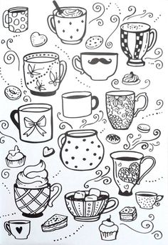 Livro de Colorir Arteterapia Criativa - Adult Coloring pages Cupcake cup tea - Ideas In Crafting