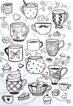 Livro de Colorir Arteterapia Criativa - Adult Coloring pages Cupcake cup tea