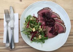 Rare roast beef and blue cheese salad...