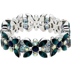 Monet AB Navette and Round Cut Glass Crystal Stretch Bracelet, Multi (1.745 CZK) ❤ liked on Polyvore featuring jewelry, bracelets, monet jewelry, bead jewellery, flower jewelry, monet bangle and monet jewellery