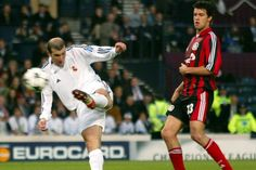 Michael Ballack (Bayer Leverkusen) could only look on as Zinedie Zidane (Real Madrid) famously decided the 2001/02 Champions Leage final with a now legendary goal.