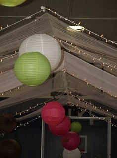 LOTS of TULLE :  wedding ceremony decor decorations diy green lime reception tulle white 49
