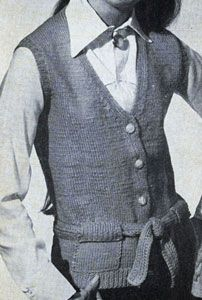 Belted Vest With Pockets knit pattern from Vests, originally published by Fashions in Wool, Volume No. 120.