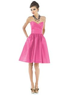 Strapless cocktail length peau de soie dress with draped bodice and pleated midriff. Full shirred skirt has pockets at side seams. Also available full length as style D543. Available in sizes 00-30W. Style D542