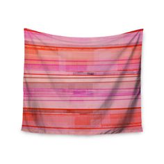 "CarolLynn Tice ""Starwberry Shortcake"" Pink Stripes Wall Tapestry"