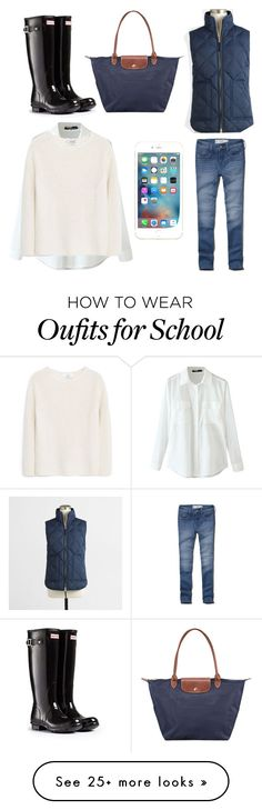 """""""School"""" by sophiadebruin on Polyvore featuring Abercrombie & Fitch, Hunter, MANGO, J.Crew and Longchamp"""