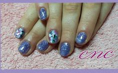 Lilac glitter lecente flowers freehand