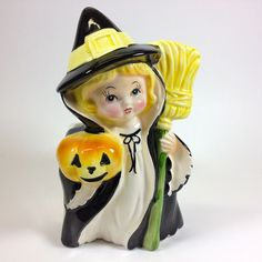 Vintage Relpo Halloween Witch w Pumpkin Planter-I so wish I could find this one!!! I've been looking for a long time.  The relpo Halloween planters are hard to find