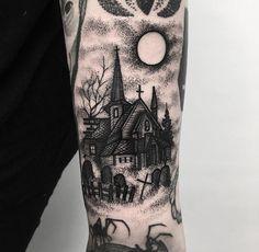 Spooky Church and Graveyard Tattoo on Forearm tattoos forearm 30 Blackwork Dark Tattoos by Merry Morgan Cute Tattoos, Leg Tattoos, Body Art Tattoos, Forearm Tattoos For Men, Dark Tattoos For Men, Fun Tattoo, Dark Art Tattoo, All Black Tattoos, Skull Tattoos