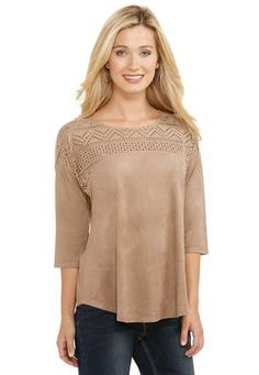 Cato Fashions Laser Cut Faux Suede Top-Plus #CatoFashions