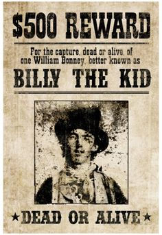 Billy The Kid Western Wanted Sign Print Poster Print at AllPosters.com