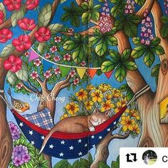 Que fofura! By @colorvscolour #blomstermandala #chriscoloring #mariatrolle #coloredpencil #coloredpencils #coloring #colouring #coloringbook #colouringbook #adultcoloringbook #adultcoloring #livrodecolorir #målarbok #塗り絵 #大人の塗り絵 #summer #prismacolorpremier #prismacolor #uniball #birdhouse #trees #flowers #cat #puppy #naptime #napping #bird #hammock #colors #desenhoscolorir