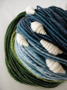 I've never seen more beautiful yarn.  Clouds Handspun Bulky Weight 93 yards by moonrover on Etsy