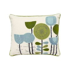 From our range of home accessories, this pale blue cushion designed by textile designer Eloise Renouf, has a lovely floral applique design and green trims.