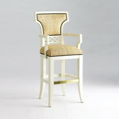Jan Showers | Shop | UPHOLSTERY | CHAIRS | COCO BAR STOOL WITH BACK AND ARMS