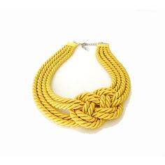 Yellow Rope, Infinity Knot, Statement Collar Necklace Buy two... ❤ liked on Polyvore featuring jewelry, necklaces, yellow necklace, rope knot necklace, twisted rope necklace, knotted cord necklace and nautical necklace