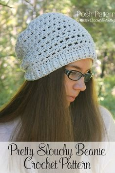 Crochet Pattern - This beautiful crochet slouchy hat pattern features an…