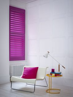 Neon pink shutters in a bedroom. Source: www.shutterlyfabulous.com