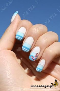 Navy Nails - ARTNAILS OF THE DAY - Unhas de gel decoradas do dia