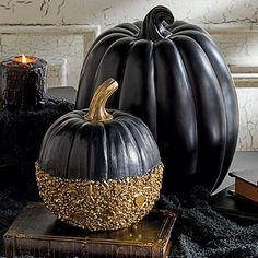 Black and Gold Glitter Pumpkin