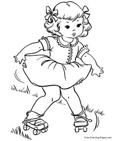 Sommer Malbuchseiten – Rollschuhe 05 – coloring books and embroidery transfers - Malvorlagen Mandala Disney Coloring Pages, Animal Coloring Pages, Coloring Pages To Print, Coloring Book Pages, Coloring Pages For Kids, Summer Coloring Sheets, Vintage Coloring Books, Farm Quilt, Digi Stamps