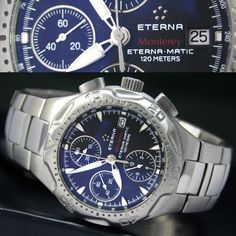 ETERNA Monterey ETERNAMATIC Chronograph 120m Date Steel Mens Watch & Band