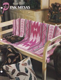 Pink Mesas Southwest Afghan, Annie's Crochet Quilt & Afghan Club Pattern Leaflet 19-1-03